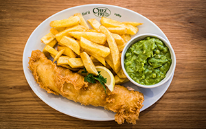 Chez Fred, fish and chips, food waste, takeaway, chips, mushy peas